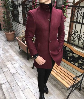 How to wear: burgundy wool blazer, black turtleneck, black skinny jeans, black leather chelsea boots