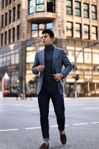 How to wear: grey check wool blazer, black turtleneck, black skinny jeans, dark brown suede tassel loafers