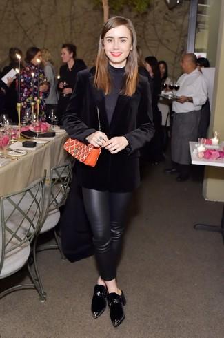 How to wear: black velvet blazer, black turtleneck, black leather skinny pants, black velvet mules