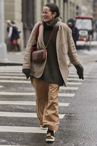 How to wear: beige wool blazer, dark green knit turtleneck, tan wide leg pants, multi colored canvas slip-on sneakers