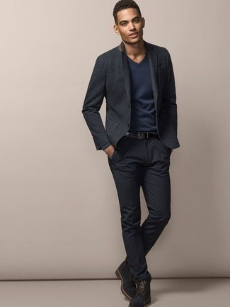 Black Chinos Outfits: For an outfit that's worthy of a modern fashion-savvy gent and effortlessly classic, go for a charcoal blazer and black chinos. When it comes to shoes, complete this look with black suede casual boots.