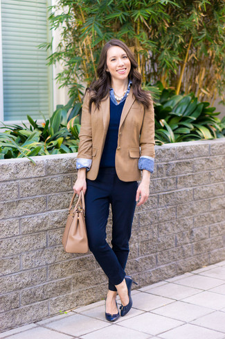 How to wear: tan blazer, navy v-neck sweater, blue denim shirt, navy dress pants