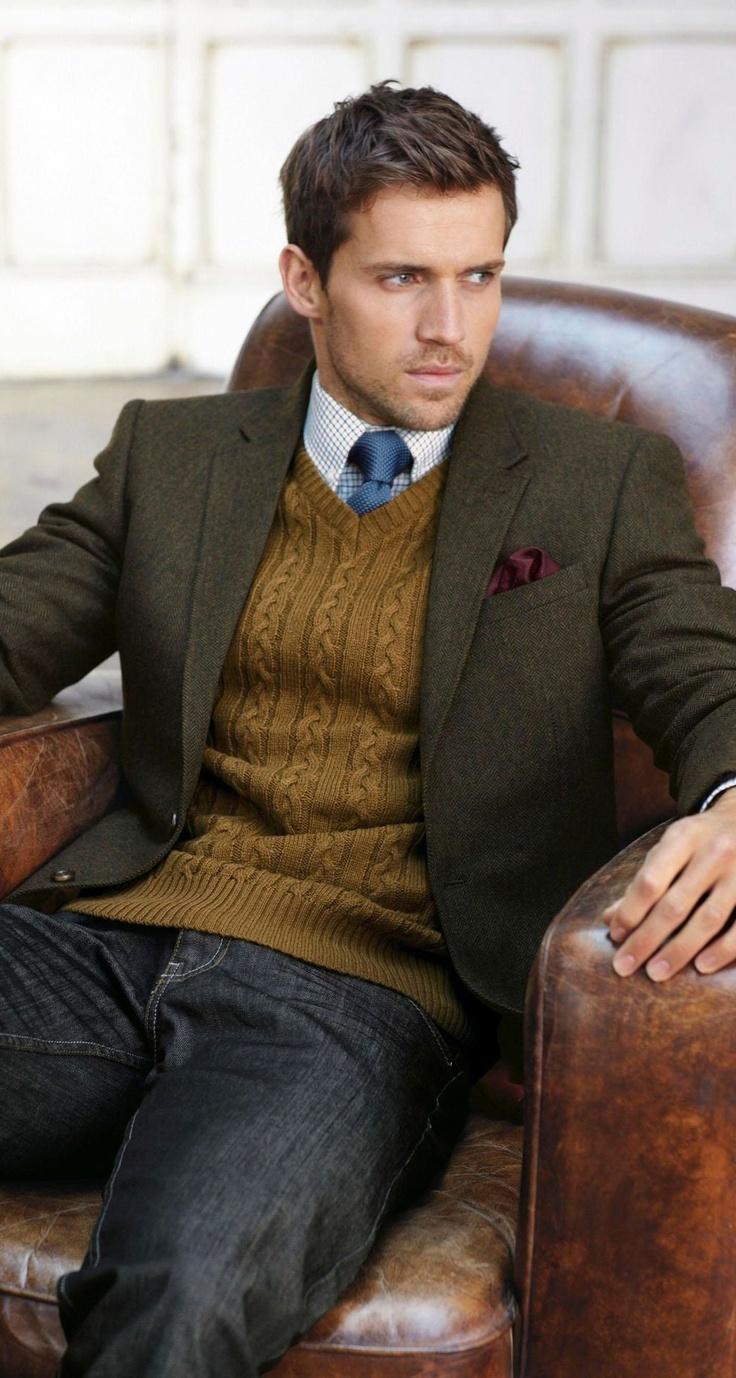 Blazer With v Neck Sweater Tobacco V-neck Sweater