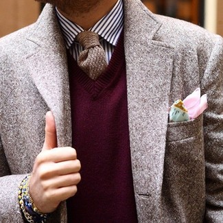 How to wear: brown wool blazer, burgundy v-neck sweater, white and navy vertical striped dress shirt, brown knit tie