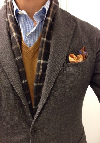 How to wear: dark brown wool blazer, brown v-neck sweater, light blue gingham dress shirt, brown paisley pocket square
