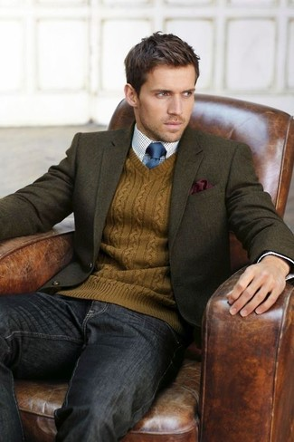 How to wear: olive wool blazer, tobacco v-neck sweater, white and blue gingham dress shirt, charcoal jeans