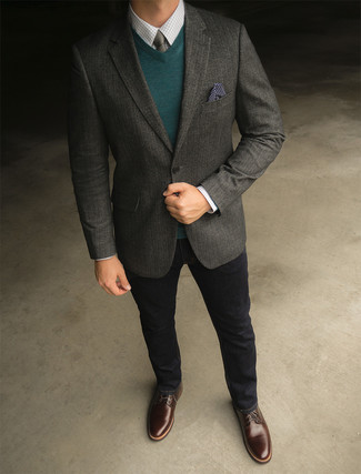 How to wear: charcoal wool blazer, dark green v-neck sweater, white check dress shirt, black jeans