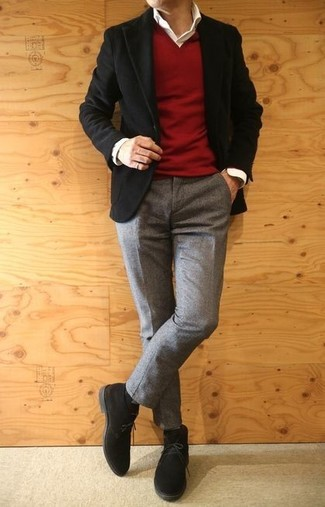 How to wear: black corduroy blazer, red v-neck sweater, white dress shirt, grey wool dress pants
