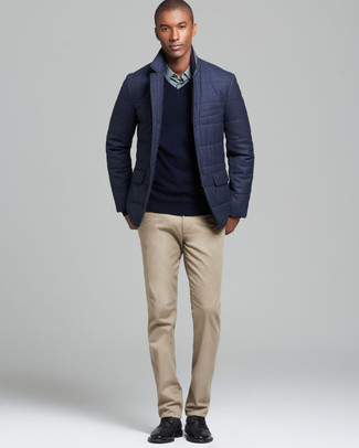 How to wear: charcoal quilted blazer, black v-neck sweater, mint dress shirt, khaki chinos