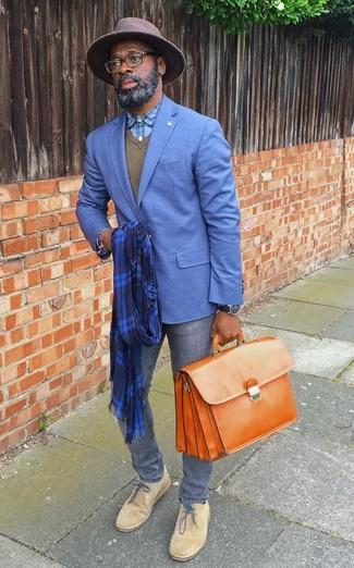 How to wear: blue blazer, olive v-neck sweater, light blue plaid dress shirt, grey skinny jeans