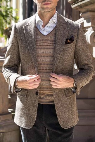 How to wear: brown wool blazer, brown fair isle v-neck sweater, white vertical striped dress shirt, black wool dress pants