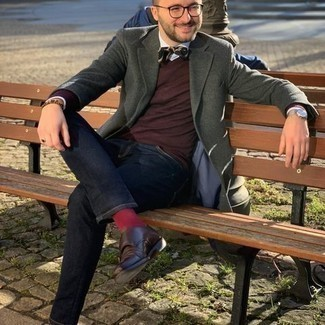 Bow-tie Outfits For Men: Who said you can't make a fashion statement with an edgy look? That's easy in a dark green wool blazer and a bow-tie. Balance your ensemble with a dressier kind of shoes, such as these dark brown leather double monks.
