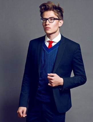 How To Wear a Navy Blazer With a Blue V-neck Sweater For Men: Combining a navy blazer with a blue v-neck sweater is a smart idea for a smart casual outfit.