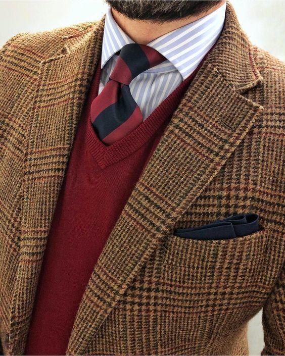 a854bd258af3 Men s Brown Houndstooth Wool Blazer