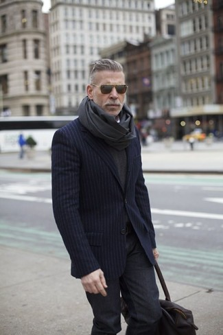 How to wear: navy vertical striped blazer, charcoal v-neck sweater, charcoal jeans, charcoal scarf