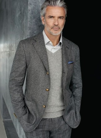 Men's Grey Wool Blazer, Grey V-neck Sweater, Grey Long Sleeve Shirt, Grey Plaid Dress Pants