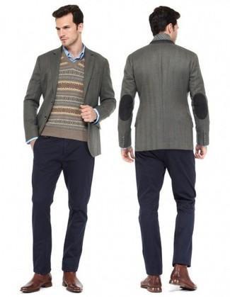 Men's Charcoal Blazer, Brown Fair Isle V-neck Sweater, Blue Long ...