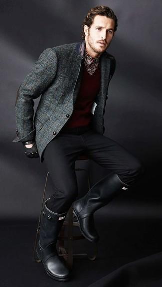 How to wear: charcoal check wool blazer, burgundy v-neck sweater, burgundy print long sleeve shirt, black chinos