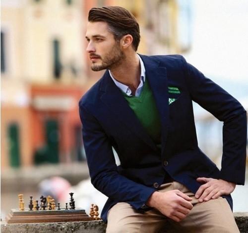 Men S Navy Blazer Green V Neck Sweater White And Blue Gingham Long
