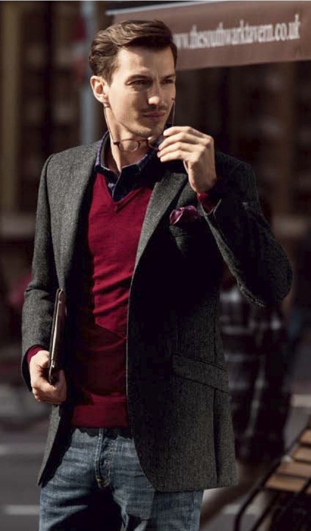 Men's Charcoal Blazer, Red V-neck Sweater, Navy and White Gingham ...