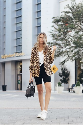 How to wear: tan leopard blazer, white v-neck t-shirt, black bike shorts, white athletic shoes