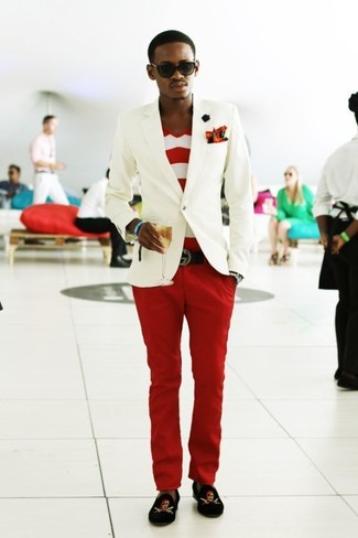 How to wear: white blazer, white and red horizontal striped v-neck t-shirt, red chinos, black print velvet loafers