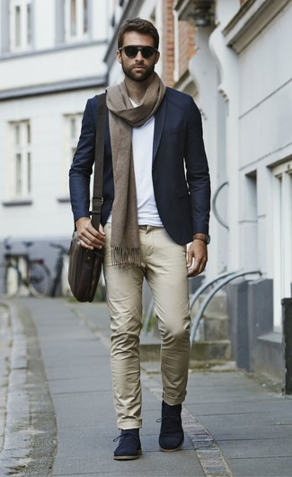 How to wear: navy blazer, white v-neck t-shirt, khaki chinos, navy suede desert boots