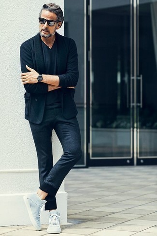 How to Wear Silver Sunglasses For Men: Choose a navy blazer and silver sunglasses to put together an urban and absolutely dapper outfit. Introduce light blue canvas high top sneakers to the mix and you're all done and looking incredible.