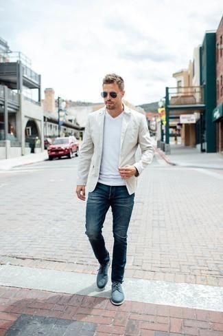 Men's White Blazer, White V-neck T-shirt, Navy Jeans, Blue Canvas Derby Shoes