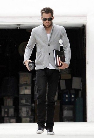 Men's Grey Wool Blazer, White V-neck T-shirt, Black Jeans, Black Low Top Sneakers