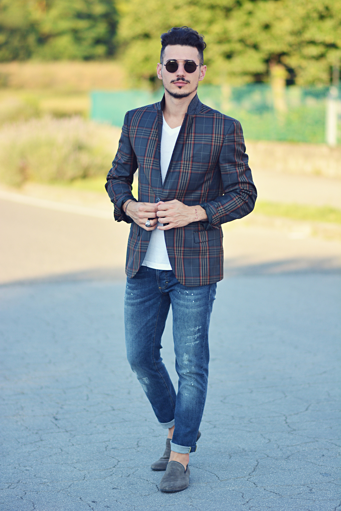 Blue Blazer v Neck Navy Plaid Blazer And Blue