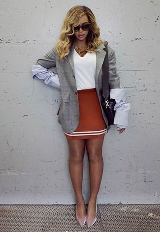 How to wear: grey blazer, white v-neck t-shirt, red mini skirt, pink velvet pumps