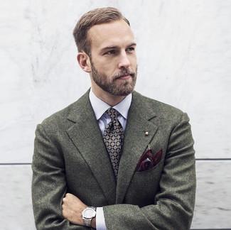 Cómo combinar: blazer de lana verde oscuro, camisa de manga larga de rayas verticales blanca, corbata estampada negra, pañuelo de bolsillo estampado burdeos