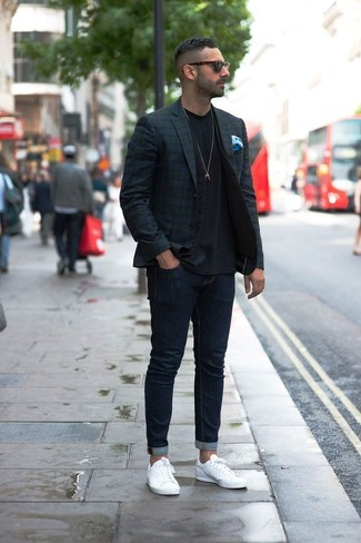 How to wear: navy and green plaid blazer, black waistcoat, black crew-neck t-shirt, navy skinny jeans