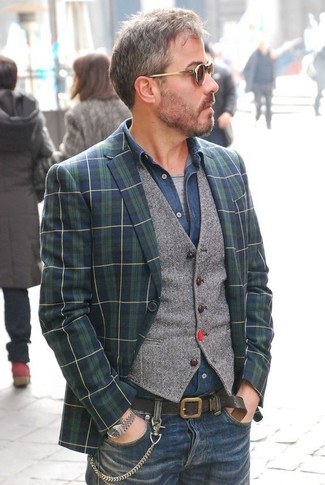 How to wear: navy and green plaid blazer, grey wool waistcoat, navy denim shirt, grey crew-neck t-shirt