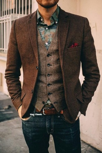 Men's Dark Brown Herringbone Wool Blazer, Brown Herringbone Wool Waistcoat, Blue Floral Denim Shirt, Navy Jeans