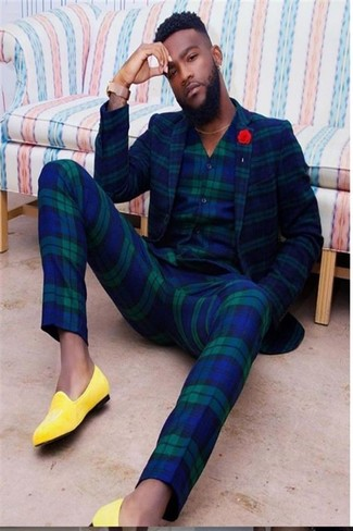 How to wear: navy and green plaid blazer, navy plaid waistcoat, navy and green plaid dress pants, yellow leather loafers