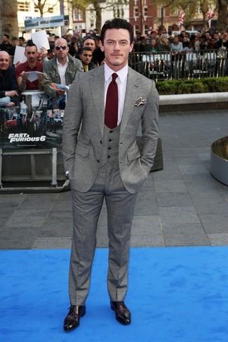 Blazer waistcoat dress shirt dress pants derby shoes tie pocket square large 843