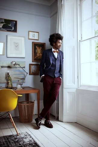 How to wear: navy check blazer, navy check waistcoat, white dress shirt, burgundy chinos
