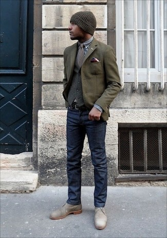How to wear: olive wool blazer, grey wool waistcoat, navy and white gingham dress shirt, navy jeans