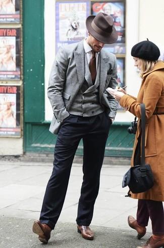 How to wear: grey wool blazer, grey wool waistcoat, white dress shirt, navy dress pants