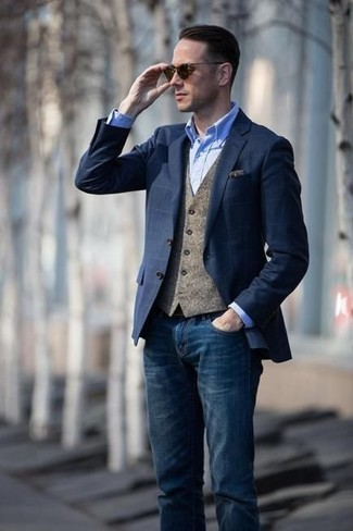 How to wear: navy check blazer, brown wool waistcoat, light blue chambray dress shirt, navy jeans