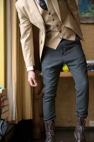 How to wear: tan cotton blazer, tan waistcoat, white dress shirt, charcoal wool chinos