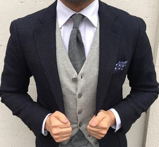 How to wear: navy knit blazer, grey wool waistcoat, white dress shirt, grey wool tie