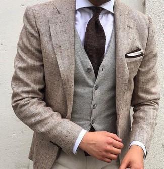 How to wear: beige linen blazer, grey wool waistcoat, white dress shirt, beige dress pants