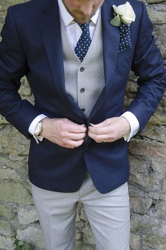 How to wear: navy blazer, grey waistcoat, white dress shirt, grey dress pants