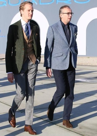 How to wear: olive wool blazer, tan wool waistcoat, pink dress shirt, grey dress pants
