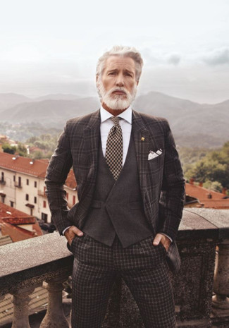 How to Wear a Dark Brown Plaid Blazer For Men: A dark brown plaid blazer and dark brown check dress pants are worth adding to your list of closet essentials.