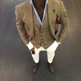 How to wear: tan check blazer, tan plaid waistcoat, light blue dress shirt, white chinos
