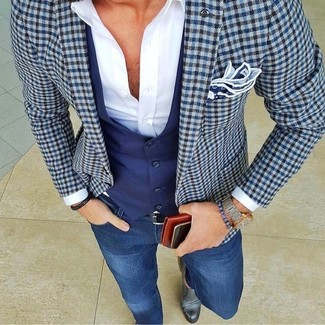 How to Wear a Blue Check Blazer For Men: Demonstrate your skills in menswear styling in this casual combination of a blue check blazer and blue skinny jeans. And if you need to instantly kick up this outfit with a pair of shoes, why not complete your getup with a pair of grey leather loafers?